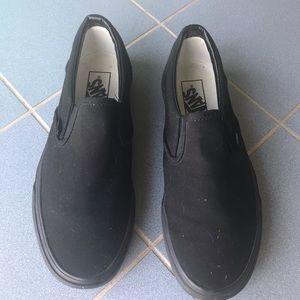Vans Shoes - Plain women's 8.5 black slip on vans!